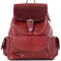 Classic Wine Red Flap Pockets Backpack