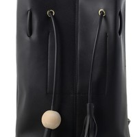 Chic Bucket Bag with Tassel Decor in Black