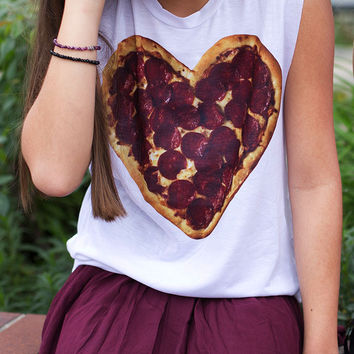 I Heart Pizza Muscle Tank