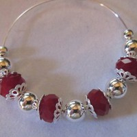 Red Velvet Crystals  Silver Beads Large Hoop Earrings