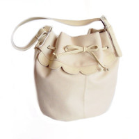 Large Leather Bucket bag Canvas Shoulder Bag Beige Sack