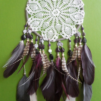 Dream Catcher - Doily - Purple, Gray - Modern - Unique - Chic