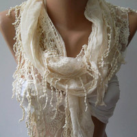 Ivory Beige -- Elegance Shawl / Scarf with Lace Edge,,