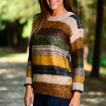 Lucky Stripes Sweater, Brown