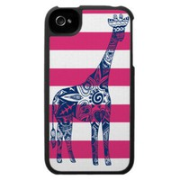 Pink Stripe Giraffe iPhone Case from Zazzle.com