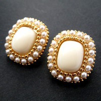 SALE - Large Square Pearl Beige Stud Earrings