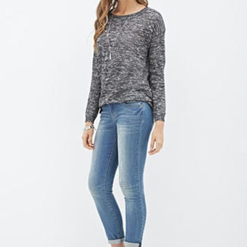 Sheer Marled Knit Sweater