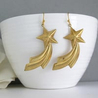 Shooting Star Earrings. Age Raw Brass Pieces Earring. Constellation Star Earrings. Simple Gold Gift