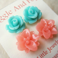 Flower Post Earrings. Juicy Melon Lotus Earrings, Minty Aqua Rose Studs. Summer Earrings, Flower Earrings. Set of 2. Coral and Mint. FSE2