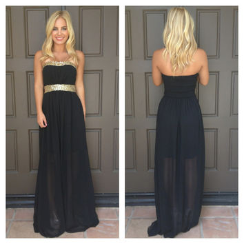 Belle Of The Ball Sequin Maxi Dress  BLACK
