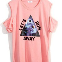 Triangle Print Cut Out T-shirt in Pink - New Arrivals - Retro, Indie and Unique Fashion