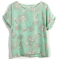 Tatoo Print T-shirt in Mint - New Arrivals - Retro, Indie and Unique Fashion