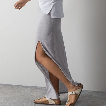 AEO Front Slit Maxi Skirt Pale Pink  American Eagle Outfitters