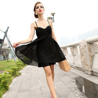 Bqueen Spliced Sexy Dress Black FQ297H