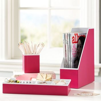 Printed Desk Accessories  Solid Pink with White Interior