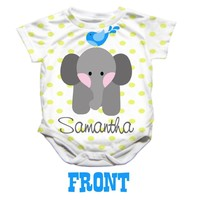 Personalized Baby Elephant Onesuit - Available 0-24 Months