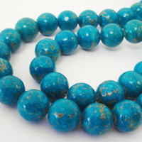 """Blue Turquoise Gold Howlite Gemstone Beads 7.5"""" Inch Strand 12mm, Beads For Jewelry Projects"""