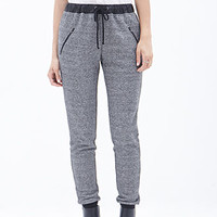LOVE 21 Faux Leather-Trimmed Joggers Heather Grey/Black