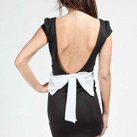 Black Low Back Dress with Back Bow Detail