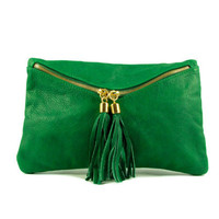 leather clutch green -.- the Envelope  -.-