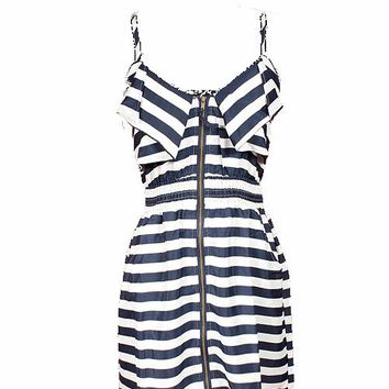 STRIPE ZIPPER FRONT DRESS