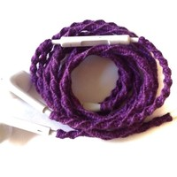 MyBuds Tangle Free Earbuds Microphone Volume Control PURPLE Genuine EarPods Wrapped for iPhone
