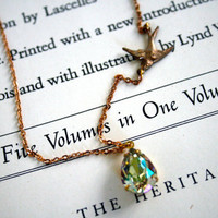 Sparrow Charm and Luminous Green Swarovski Crystal Necklace, Delicate Brass Chain, Pear Crystal, Hints of Gold, Blue, Pink