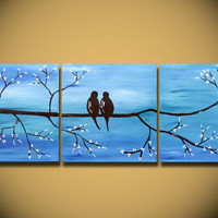 Love Birds, HUGE 36 x 12, Acrylic painting canvas, gallery wrapped, ready to hang, ORIGINAL One of a Kind Blue White silver WEDDING gift