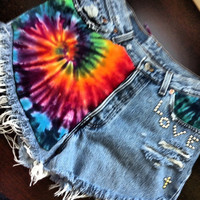 Vintage Levi's high waisted Daisy Duke destroyed Tie Dyed denim short size L