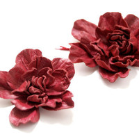 Deep red leather flower bobby pins, set of 2 (two)