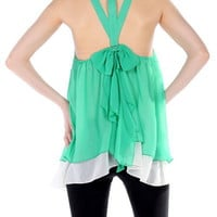 Green Sleeveless Top with Back Bow Detail