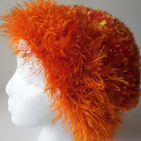 Crochet Hat - Orange - Fun Fur and Boa