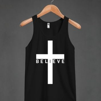 Believe Cross (Tank - Lower Text - White Artwork) Tank Top