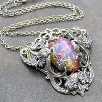 Antiqued Silver Dragons & Vintage Fire Opal Necklace