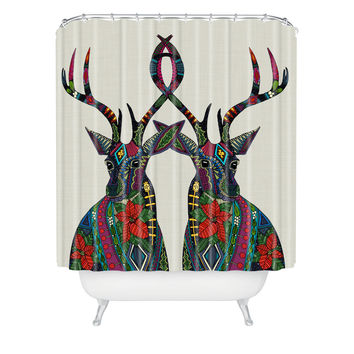 Sharon Turner Poinsettia Deer Shower Curtain ~ available on lots of products, 10% off with code: sharonturner