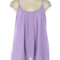 Purple Pleated High-Low Sleeveless Top