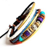 Adjustable Couple bracelets Cuff made of Leather Ropes and Color Wooden Beads unisex bracelet cuff bracelet Jewelry Bangle bracelet  682S