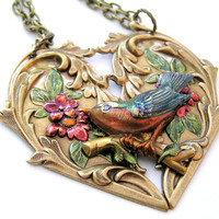 Blue Bird Heart Hand Painted Necklace