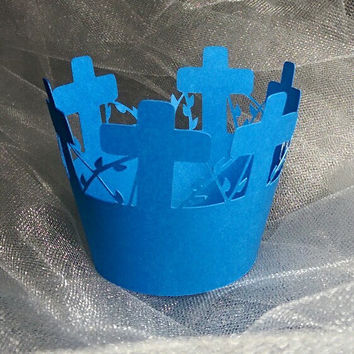 Blue Cross Cupcake Wrapper, Communions, Baptism, Confirmations, Weddings