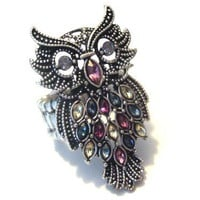Antiqued Silver, Faux Marcasite & Multi Crystal Plus Size Owl Stretch Ring - Metal Fashion Rings