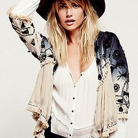 Free People Womens Top Down Embellished Jacket - IVORY COMBO