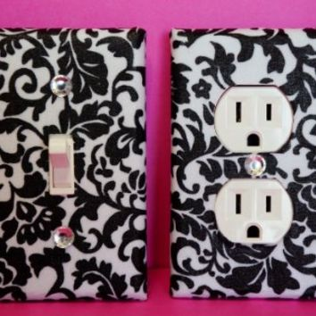 Damask Light Switch Plate & Outlet Cover Set of 2 Black & White Floral Damask ALL STYLES AVAILABLE! ***************************************************************************************************** Will look great with your new Damask Curtains, Damask