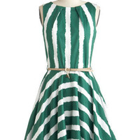Luck Be a Lady Dress in Green Stripe | Mod Retro Vintage Dresses | ModCloth.com