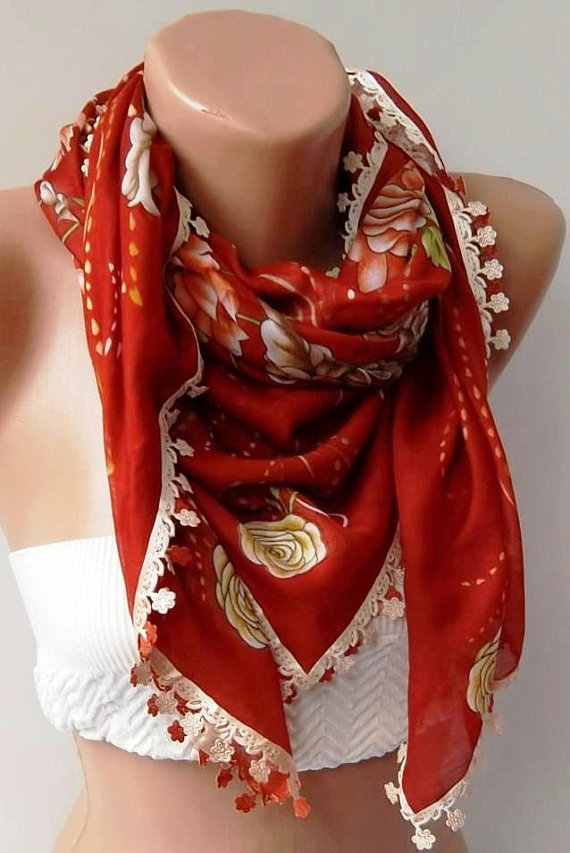 Turkish Shawl - Anatolians Scarf - with Lace- Yemeni -  Red Shawl with Oya