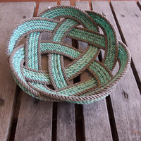 """Knotted Rope Bread Basket Fruit Bowl Centerpiece Nautical Rustic 12 """""""