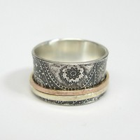 Chunky Paisley Sterling Silver Spinner Ring with 14k Rose Gold and 10k Yellow Gold Hammered Spinners