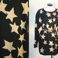 80's Vintage Oversized Black and Gold Star Sweater Mini Dress