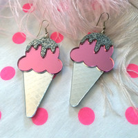 Glitter Dipped Ice Cream Cone Earrings