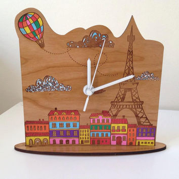 Stunning and unique desk clock - Paris scene