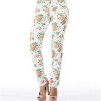 Pre-Order: White Floral Print Skinny Jeans